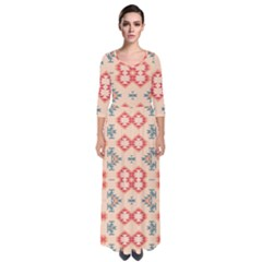 Tribal Shapes                                            Quarter Sleeve Maxi Dress by LalyLauraFLM