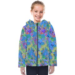 Paint Brushes On A Blue Background                                        Kids  Hooded Puffer Jacket