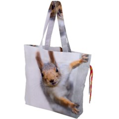 Curious Squirrel Drawstring Tote Bag by FunnyCow