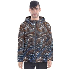 Melted Metal                                        Men s Hooded Puffer Jacket by LalyLauraFLM