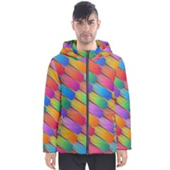 Colorful Textured Shapes Pattern                                      Men s Hooded Puffer Jacket