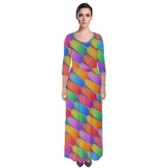 Colorful Textured Shapes Pattern                                        Quarter Sleeve Maxi Dress by LalyLauraFLM