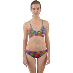 Colorful Textured Shapes Pattern                                        Wrap Around Bikini Set by LalyLauraFLM