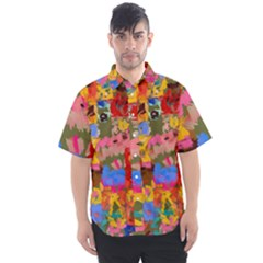 Coloful Strokes Canvas                             Men s Short Sleeve Shirt
