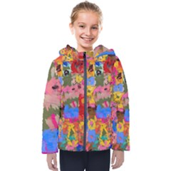 Coloful Strokes Canvas                                   Kids  Hooded Puffer Jacket