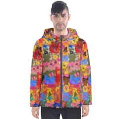 Coloful Strokes Canvas                                    Men s Hooded Puffer Jacket