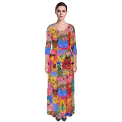 Coloful Strokes Canvas                                      Quarter Sleeve Maxi Dress by LalyLauraFLM