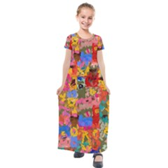 Coloful Strokes Canvas                                  Kids  Short Sleeve Maxi Dress