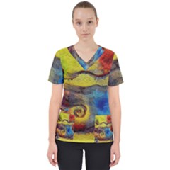 Painted Swirls                                     Women s V Neck Scrub Top