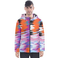Waves                                    Men s Hooded Puffer Jacket by LalyLauraFLM