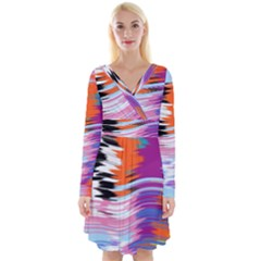 Waves                                       Long Sleeve Front Wrap Dress