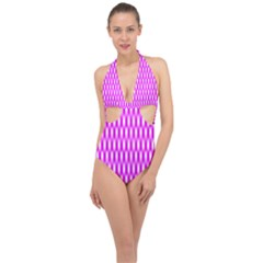 Series In Pink A Halter Front Plunge Swimsuit