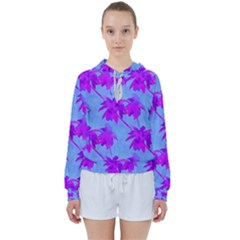 Palm Trees Caribbean Evening Women s Tie Up Sweat by CrypticFragmentsColors