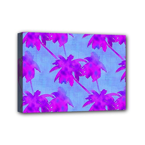 Palm Trees Caribbean Evening Mini Canvas 7  X 5  by CrypticFragmentsColors