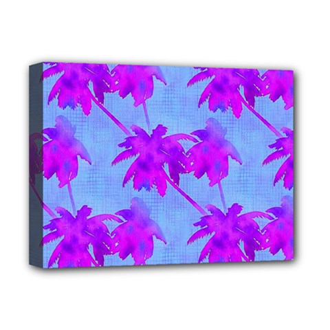 Palm Trees Caribbean Evening Deluxe Canvas 16  X 12   by CrypticFragmentsColors