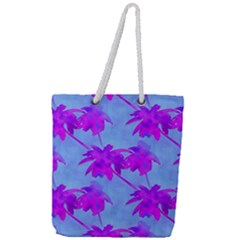 Palm Trees Caribbean Evening Full Print Rope Handle Tote (large) by CrypticFragmentsColors