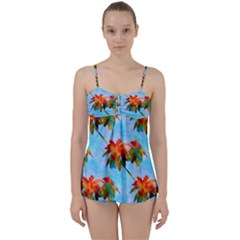 Palm Trees Sunset Glow Babydoll Tankini Set by CrypticFragmentsColors