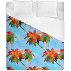 Palm Trees Sunset Glow Duvet Cover (california King Size) by CrypticFragmentsColors