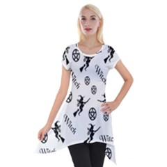 Witches And Pentacles Short Sleeve Side Drop Tunic by IIPhotographyAndDesigns