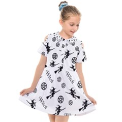 Witches And Pentacles Kids  Short Sleeve Shirt Dress