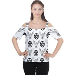 Owls And Pentacles Cutout Shoulder Tee by IIPhotographyAndDesigns