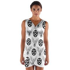 Owls And Pentacles Wrap Front Bodycon Dress by IIPhotographyAndDesigns