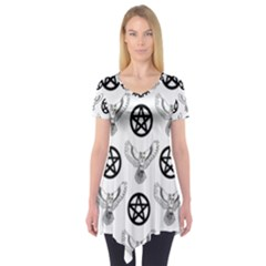 Owls And Pentacles Short Sleeve Tunic  by IIPhotographyAndDesigns