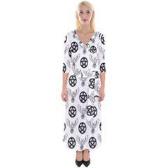 Owls And Pentacles Quarter Sleeve Wrap Maxi Dress by IIPhotographyAndDesigns