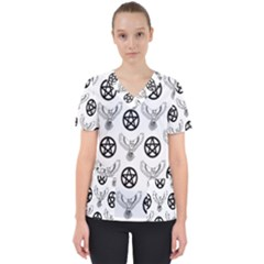 Owls And Pentacles Scrub Top by IIPhotographyAndDesigns