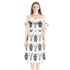 Owls And Pentacles Shoulder Tie Bardot Midi Dress by IIPhotographyAndDesigns