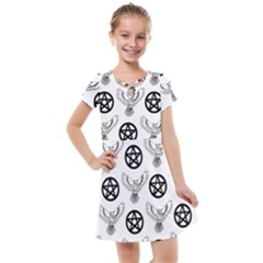 Owls And Pentacles Kids  Cross Web Dress by IIPhotographyAndDesigns
