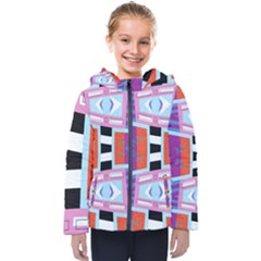 Mirrored Distorted Shapes                                   Kids  Hooded Puffer Jacket
