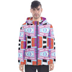 Mirrored Distorted Shapes                                    Men s Hooded Puffer Jacket by LalyLauraFLM