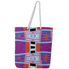 Mirrored Distorted Shapes                                Full Print Rope Handle Tote (large) by LalyLauraFLM