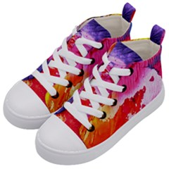 Red Purple Paint                             Kid s Mid Top Canvas Sneakers by LalyLauraFLM