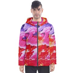 Red Purple Paint                                     Men s Hooded Puffer Jacket by LalyLauraFLM