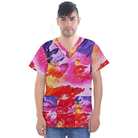 Red Purple Paint                                      Men s V-neck Scrub Top by LalyLauraFLM