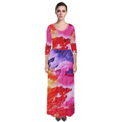Red Purple Paint                                       Quarter Sleeve Maxi Dress