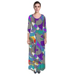 Blue Purple Shapes                                        Quarter Sleeve Maxi Dress by LalyLauraFLM