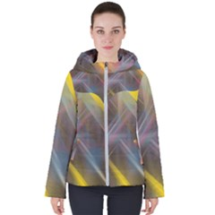 Fractals Stripes                                       Women s Hooded Puffer Jacket by LalyLauraFLM