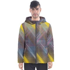 Fractals Stripes                                        Men s Hooded Puffer Jacket by LalyLauraFLM