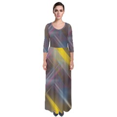 Fractals Stripes                                          Quarter Sleeve Maxi Dress by LalyLauraFLM