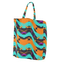 Blue Orange Black Waves                                     Giant Grocery Zipper Tote by LalyLauraFLM