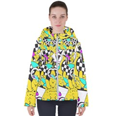 Shapes On A Yellow Background                                        Women s Hooded Puffer Jacket by LalyLauraFLM
