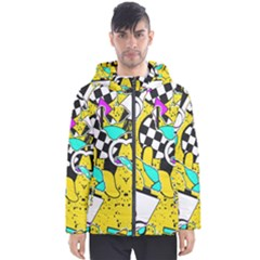 Shapes On A Yellow Background                                         Men s Hooded Puffer Jacket by LalyLauraFLM
