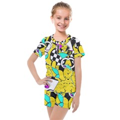 Shapes On A Yellow Background                                         Kids  Mesh Tee And Shorts Set