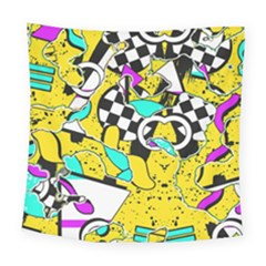 Shapes On A Yellow Background                                        Square Tapestry by LalyLauraFLM