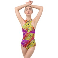 Festive Music Tribute In Rainbows Cross Front Low Back Swimsuit
