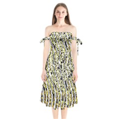Bright Gold Black And White Waves Created By Flipstylez Designs Shoulder Tie Bardot Midi Dress