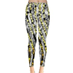 Bright Gold Black And White Waves Created By Flipstylez Designs Inside Out Leggings